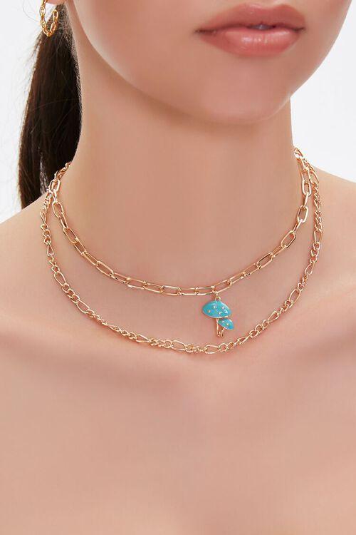 Mushroom Pendant Layered Necklace, image 1