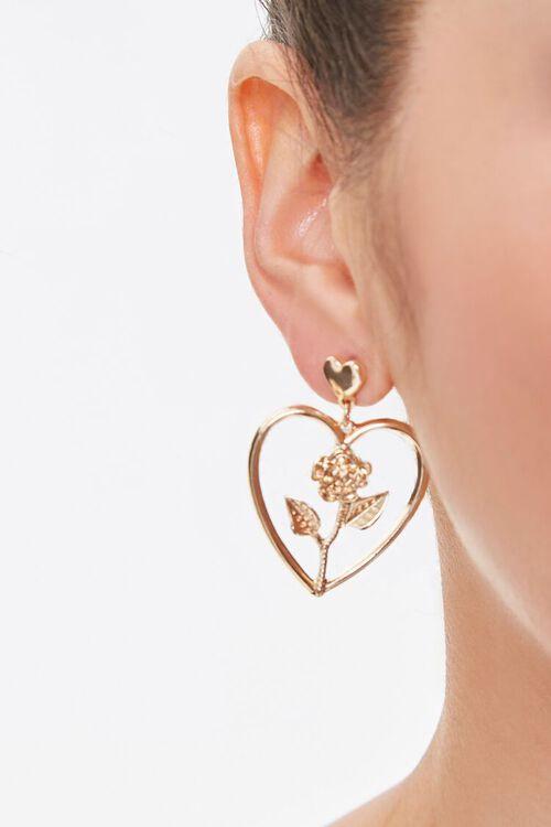 GOLD Rose Cutout Heart Drop Earrings, image 1
