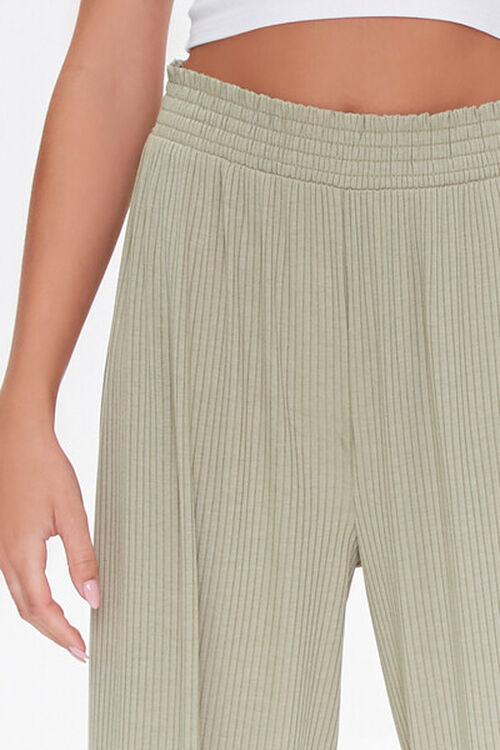 Ribbed Knit Wide-Leg Pants, image 5