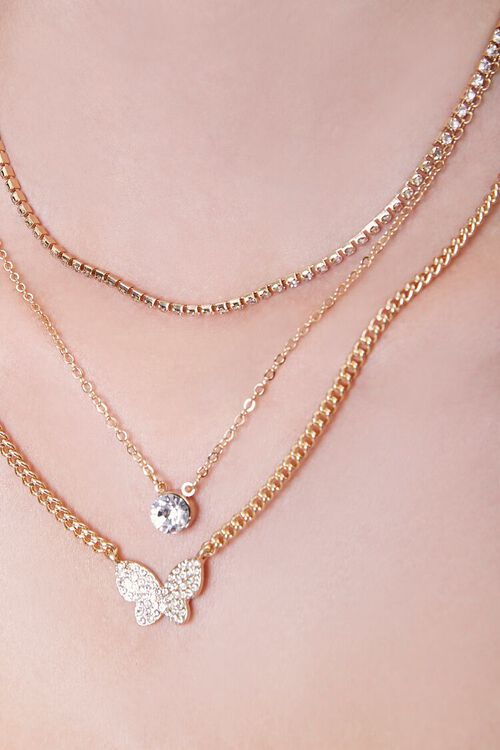 GOLD/CLEAR Rhinestone Butterfly Layered Necklace, image 2