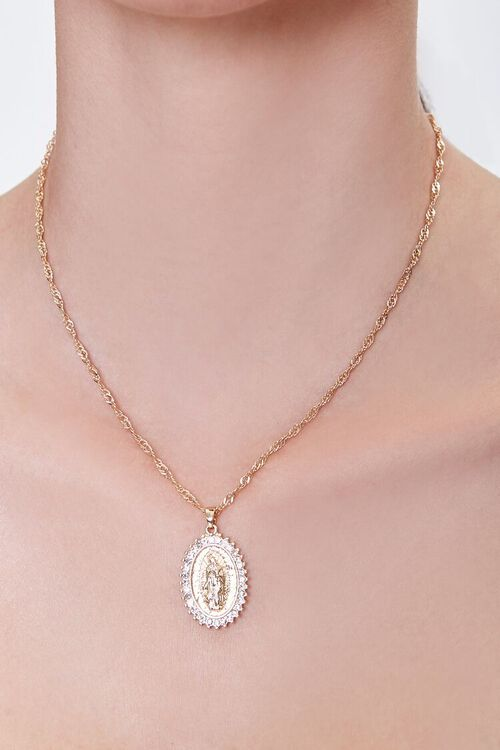 GOLD/CLEAR Religious Pendant Chain Necklace, image 1