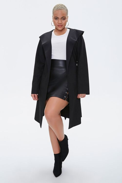 Plus Size Faux Suede Hooded Blazer, image 4