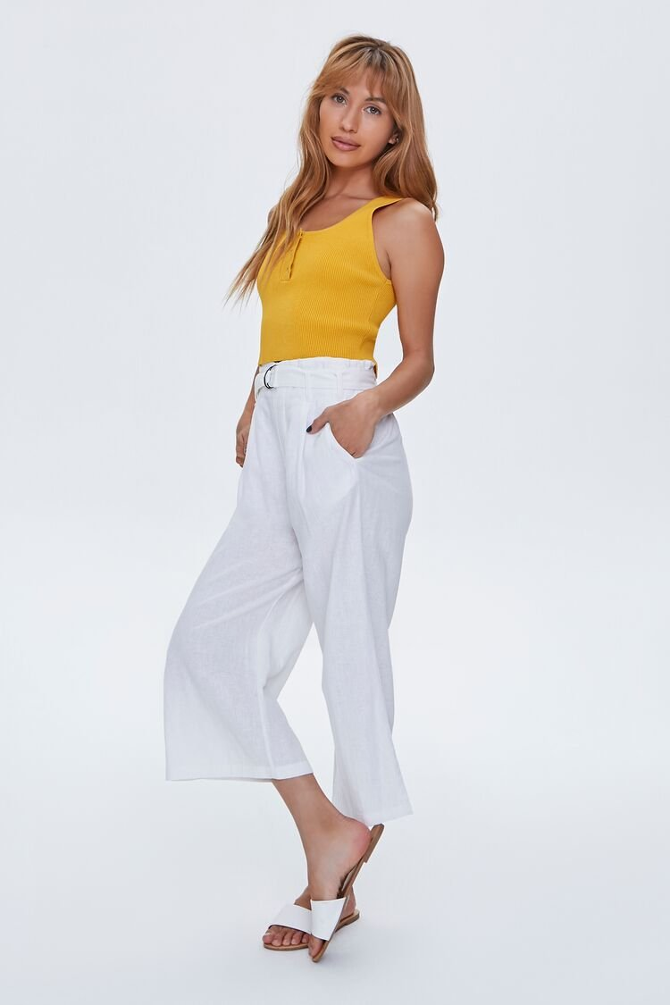 1930s Wide Leg Pants and Beach Pajamas Paperbag Belted Culottes in White Medium $24.99 AT vintagedancer.com