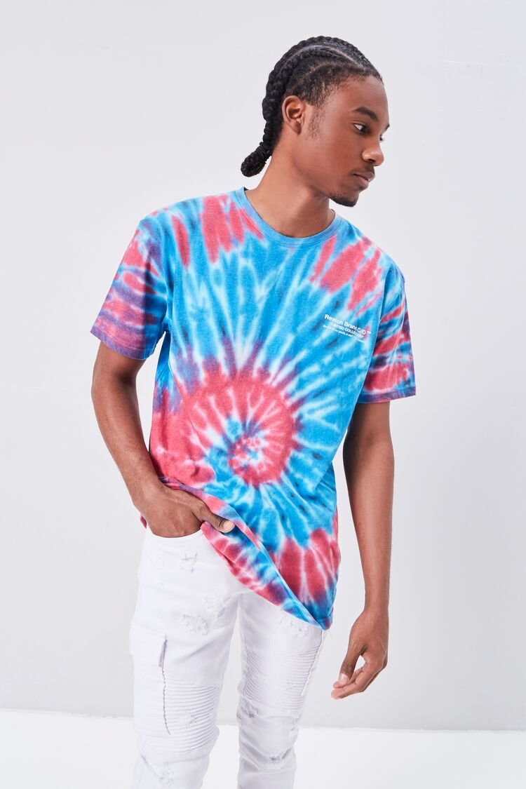 1960s Mens Shirts | 60s Mod Shirts, Hippie Shirts Reason Tie-Dye Wash Graphic Tee in PinkBlue Size XL $24.99 AT vintagedancer.com