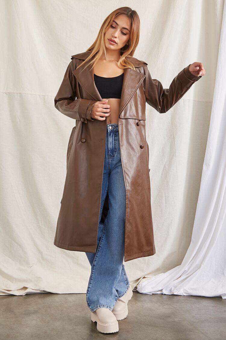70s Jackets, Furs, Vests, Ponchos Faux Leather Trench Coat in Brown Medium $69.99 AT vintagedancer.com
