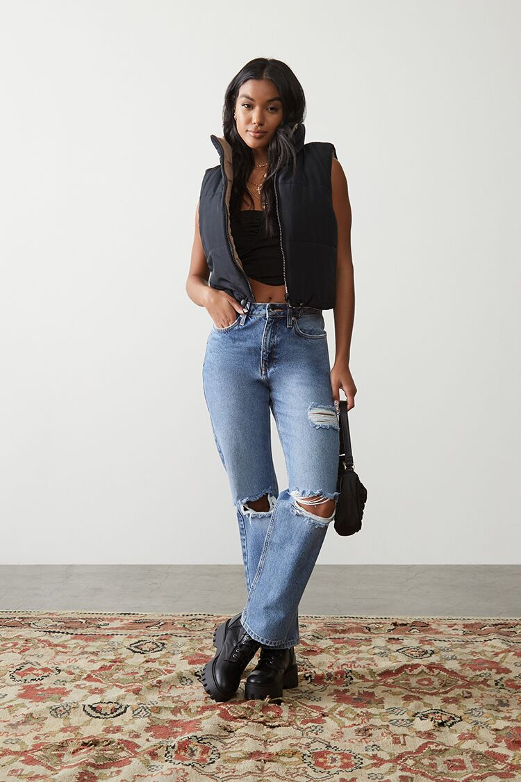 90s Clothing Outfits You Can Buy Now Premium Distressed 90s-Fit Jeans in Medium Denim Size 32 $34.99 AT vintagedancer.com
