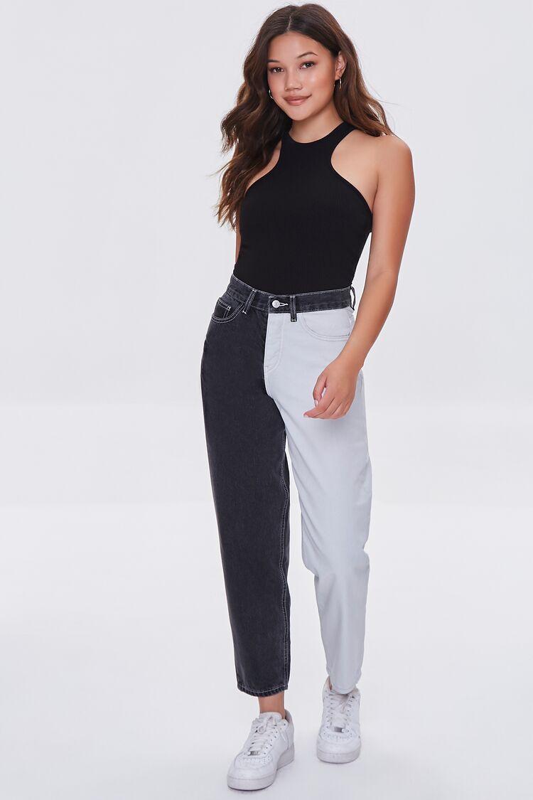 80s Jeans, Pants, Leggings | 90s Jeans Colorblock Wide-Leg Jeans in BlackWhite Size 26 $34.99 AT vintagedancer.com
