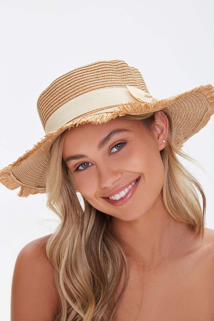 Hippie Hats,  70s Hats Frayed Straw Boater Hat in Natural $8.99 AT vintagedancer.com