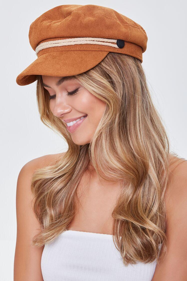 Hippie Hats,  70s Hats Corduroy Cabbie Hat in Camel Size ML $10.39 AT vintagedancer.com