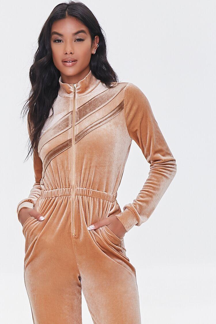 70s Jumpsuit   Disco Jumpsuits, Sequin Rompers Striped Velvet Jumpsuit in Taupe Size XL $39.99 AT vintagedancer.com