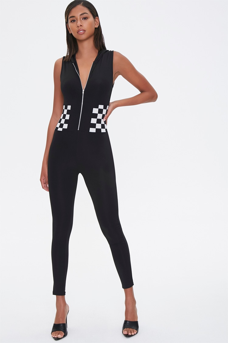 1980s Clothing, Fashion | 80s Style Clothes Hooded Checker Jumpsuit in Black Large $15.99 AT vintagedancer.com