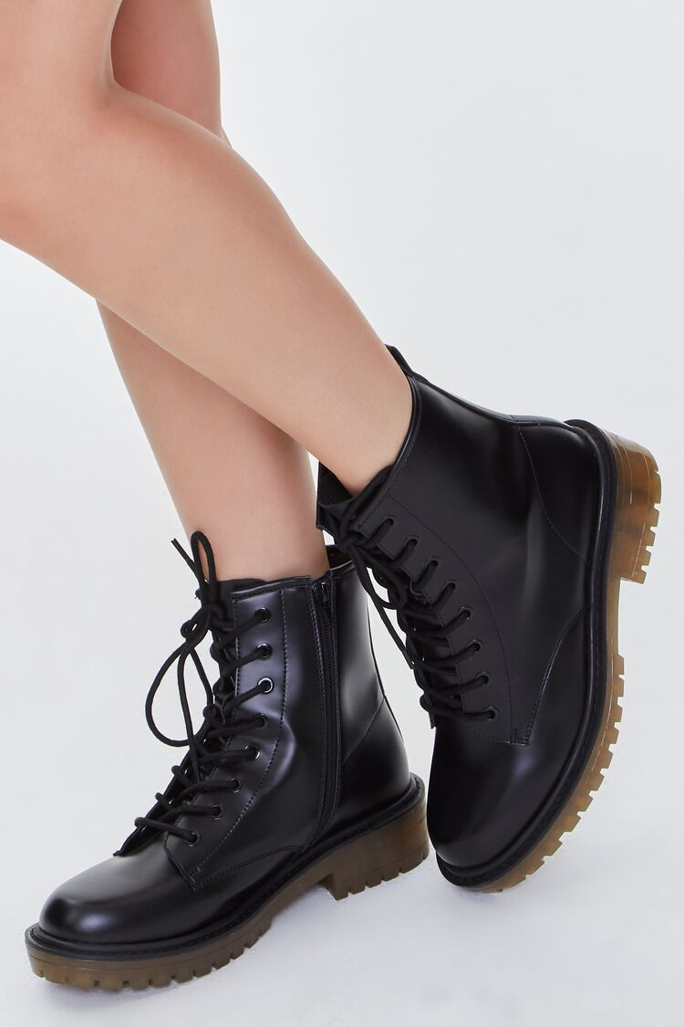 90s Clothing Outfits You Can Buy Now Faux Leather Zip-Up Booties in BlackTan Size 9 $39.99 AT vintagedancer.com
