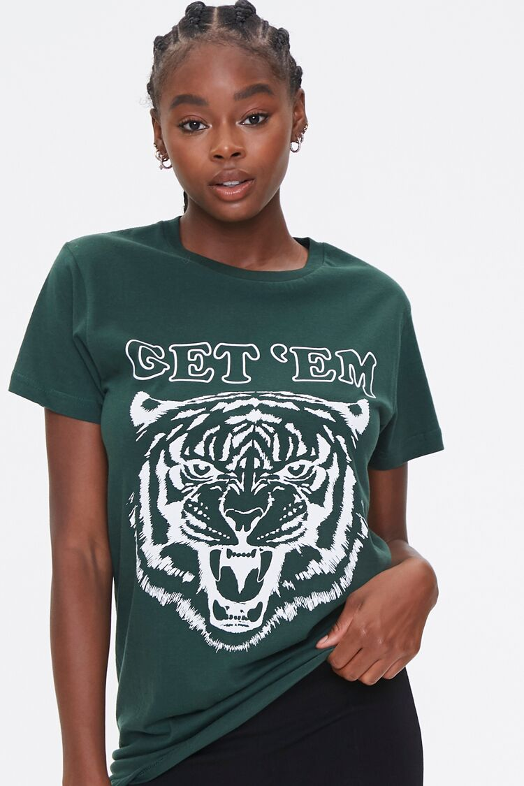 Get Em Tiger Graphic Tee in Hunter Green/White Small