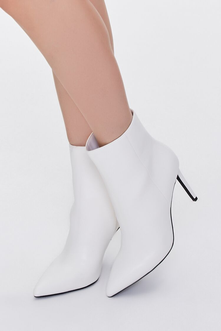 70s Shoes, Platforms, Boots, Heels | 1970s Shoes Faux Leather Stiletto Booties in White Size 10 $34.99 AT vintagedancer.com