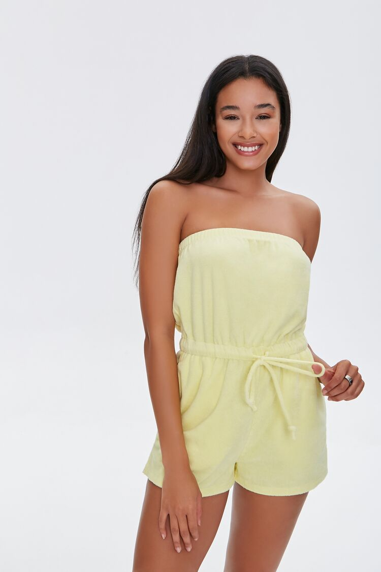 70s Shorts | Denim, High Rise, Athletic Terry Cloth Strapless Romper in Light Yellow Large $22.99 AT vintagedancer.com