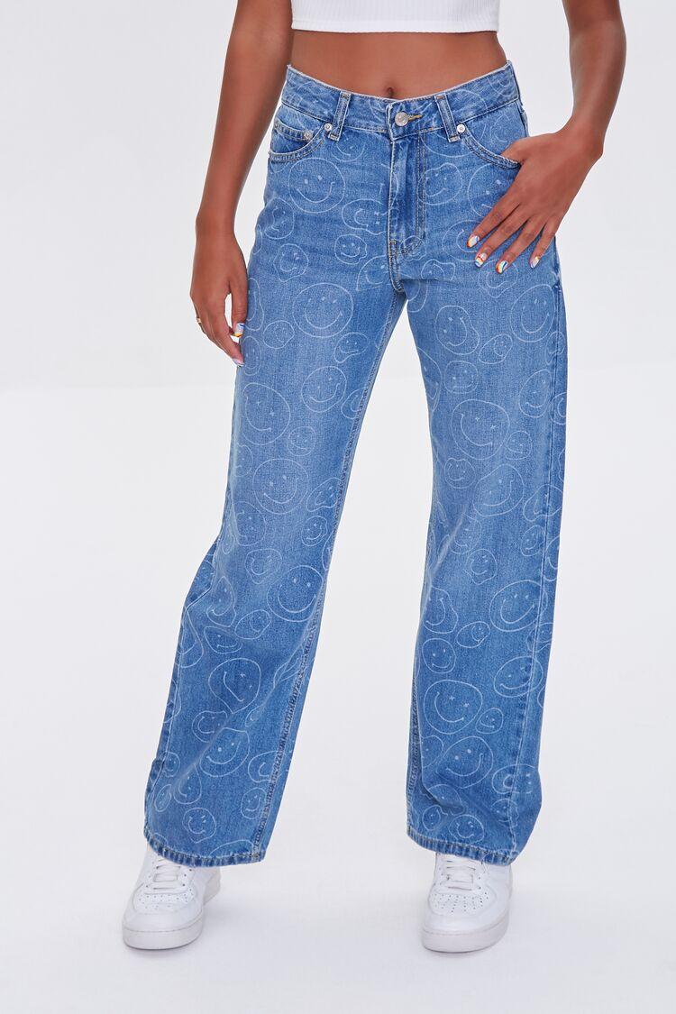 60s Pants, Jeans, Hippie, Flares, Jumpsuits Happy Face Straight Jeans in Medium Denim Size 31 $34.99 AT vintagedancer.com