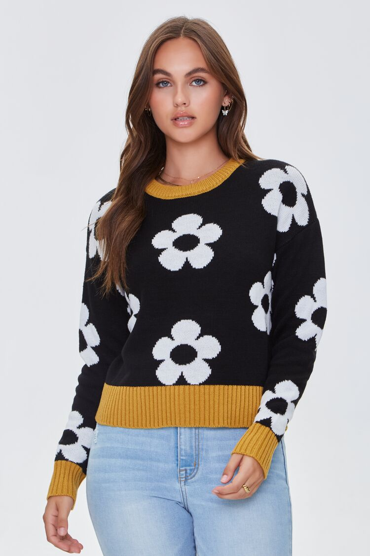 Vintage Sweaters & Cardigans: 1940s, 1950s, 1960s Floral Print Contrast-Trim Sweater in BlackMustard Size XL $27.99 AT vintagedancer.com