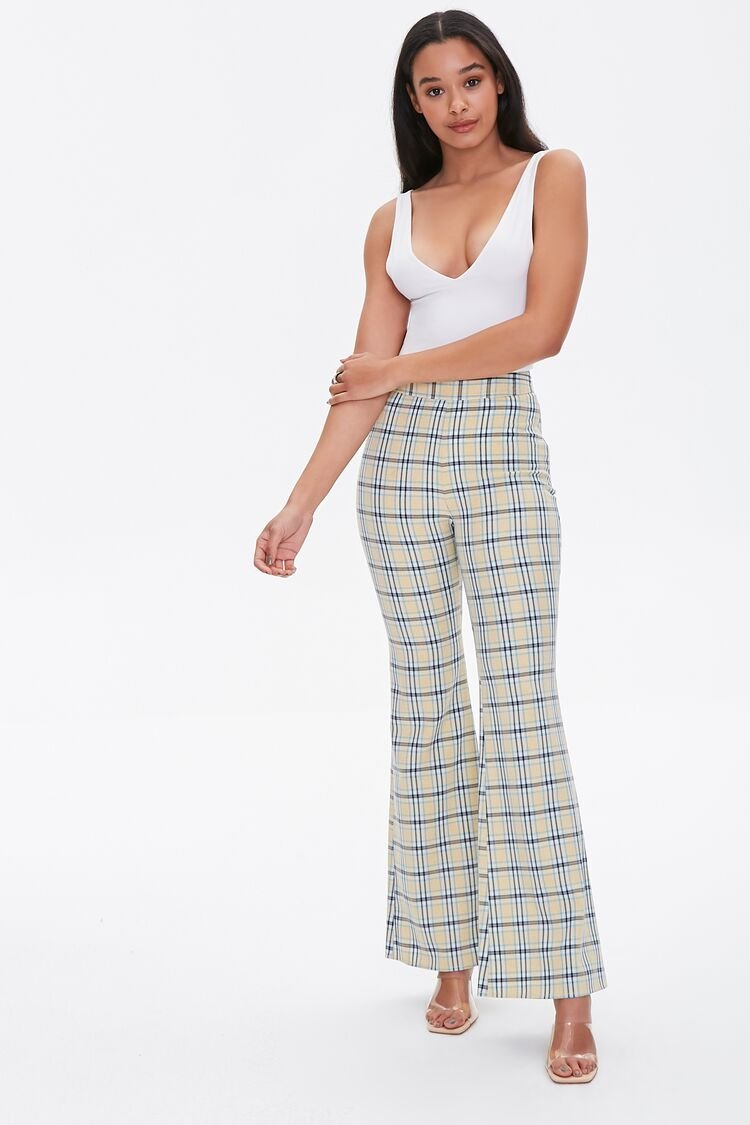 1960s Pants – Top 10 Styles for Women Plaid Flare Pants in Yellow Large $11.99 AT vintagedancer.com