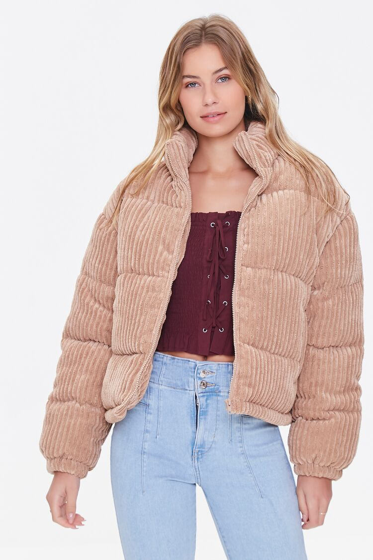 80s Windbreakers, Jackets, Coats | 90s Outerwear Corduroy Puffer Jacket in Taupe Large $64.99 AT vintagedancer.com