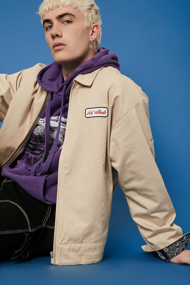 80s Windbreakers, Jackets, Coats | 90s Outerwear Hot Wheels Graphic Bomber Jacket in Khaki Size XL $49.99 AT vintagedancer.com