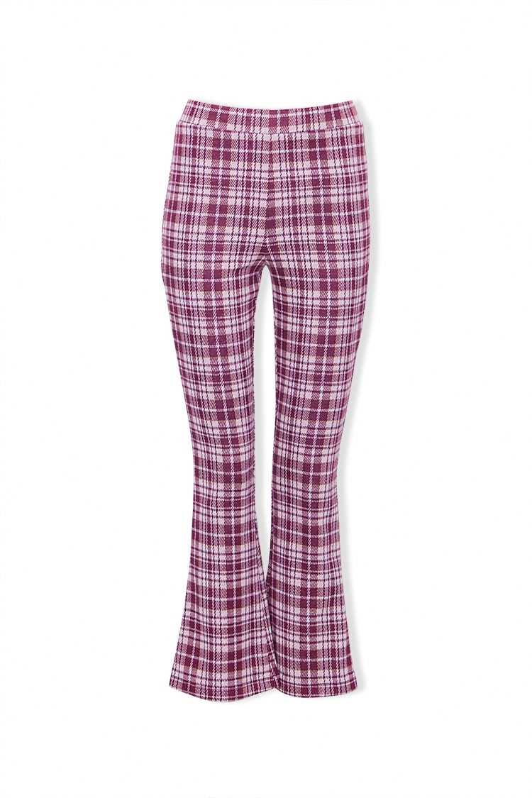 60s Pants, Jeans, Hippie, Flares, Jumpsuits Plaid Flare Pants in Burgundy Medium $10.00 AT vintagedancer.com