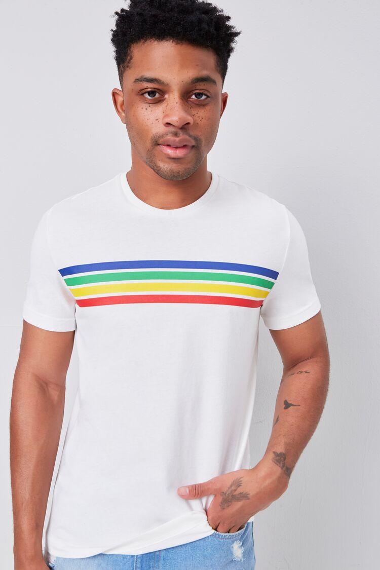 80s Men's Shirts, T-shirts, Retro Shirts Rainbow Striped-Trim Crew Neck Tee in White Size XL $12.99 AT vintagedancer.com