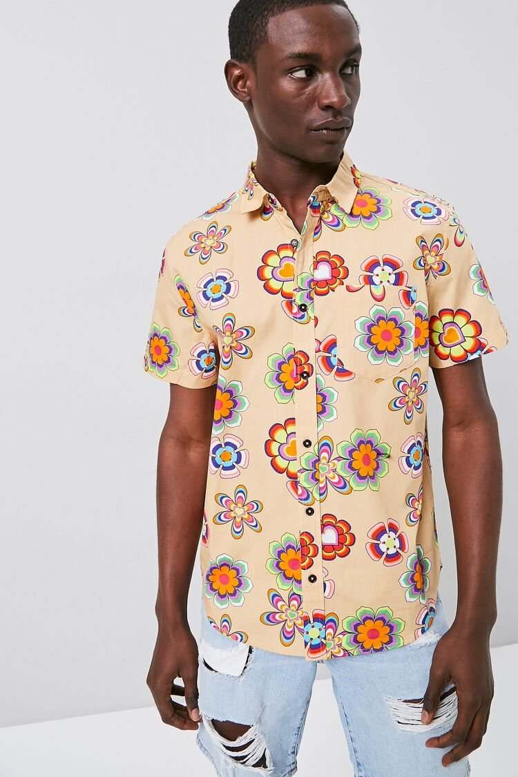 1960s Men's Clothing Fitted Retro Floral Print Shirt in Khaki Large $14.99 AT vintagedancer.com