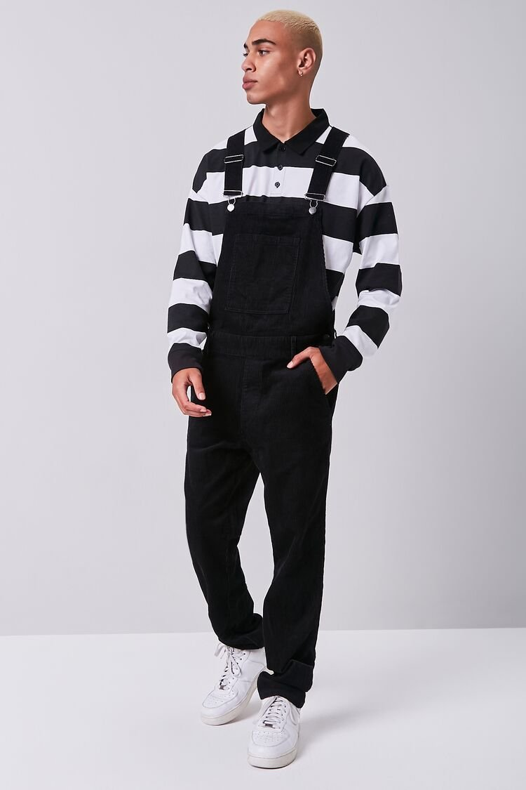 90s Outfits for Guys | Trendy, Party, Cool, Casaul Corduroy Buttoned Overalls in Black Size XL $39.99 AT vintagedancer.com