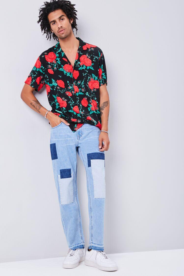 Men's Vintage Pants, Trousers, Jeans, Overalls Colorblock Patchwork Straight-Leg Jeans in Light Denim Size 32 $39.99 AT vintagedancer.com