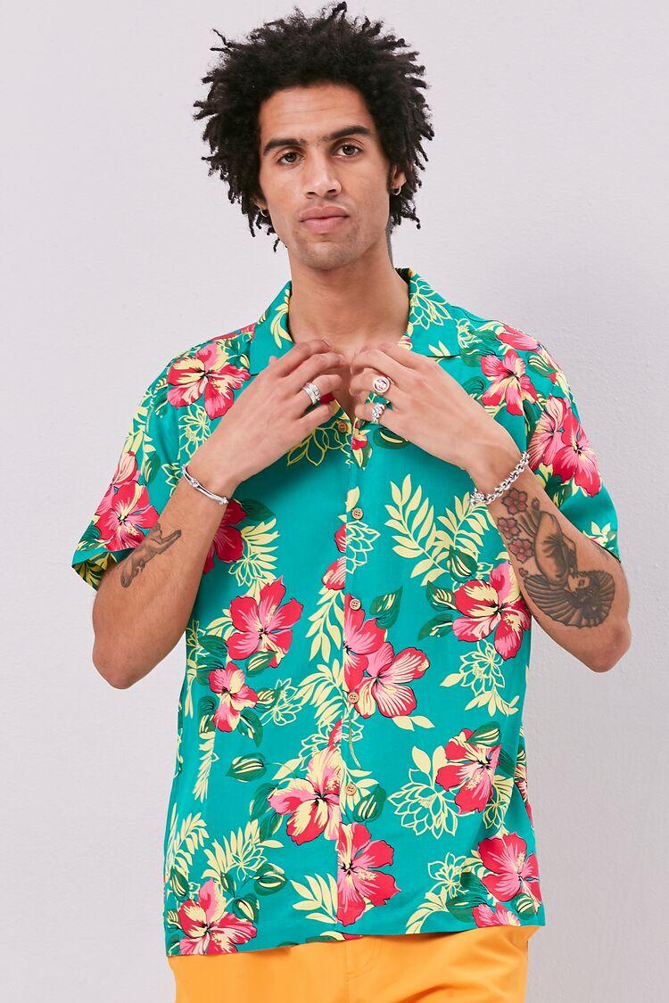 80s Men's Shirts, T-shirts, Retro Shirts Classic Fit Tropical Print Shirt in Jade Large $22.99 AT vintagedancer.com