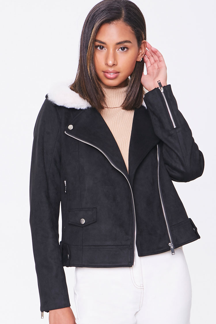 Giolshon Womens Faux Suede Leather Jacket,Moto Long Coat with Faux Fur Collar