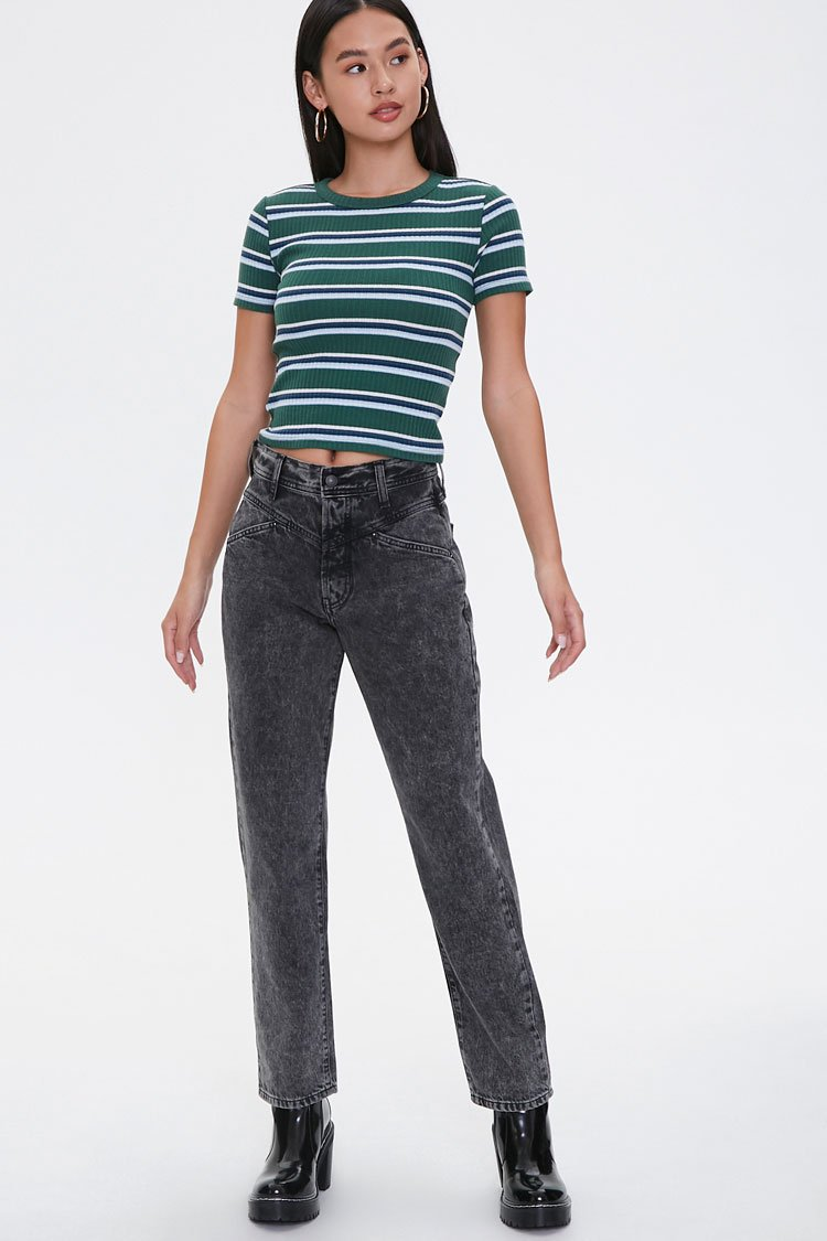 1980s Clothing, Fashion   80s Style Clothes Acid Wash Straight-Leg Jeans in Washed Black Size 30 $17.00 AT vintagedancer.com
