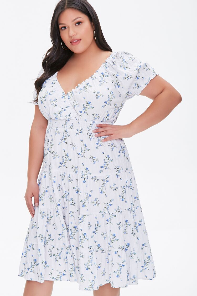Cottagecore Dresses – Aesthetic, Granny, Vintage Tiered Ruffle-Trim Dress in CreamBlue Size 2X $39.99 AT vintagedancer.com