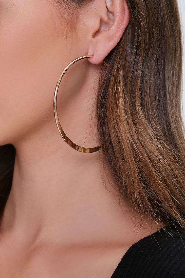 Forever 21 coupon: Oversized Hoop Earrings in Gold