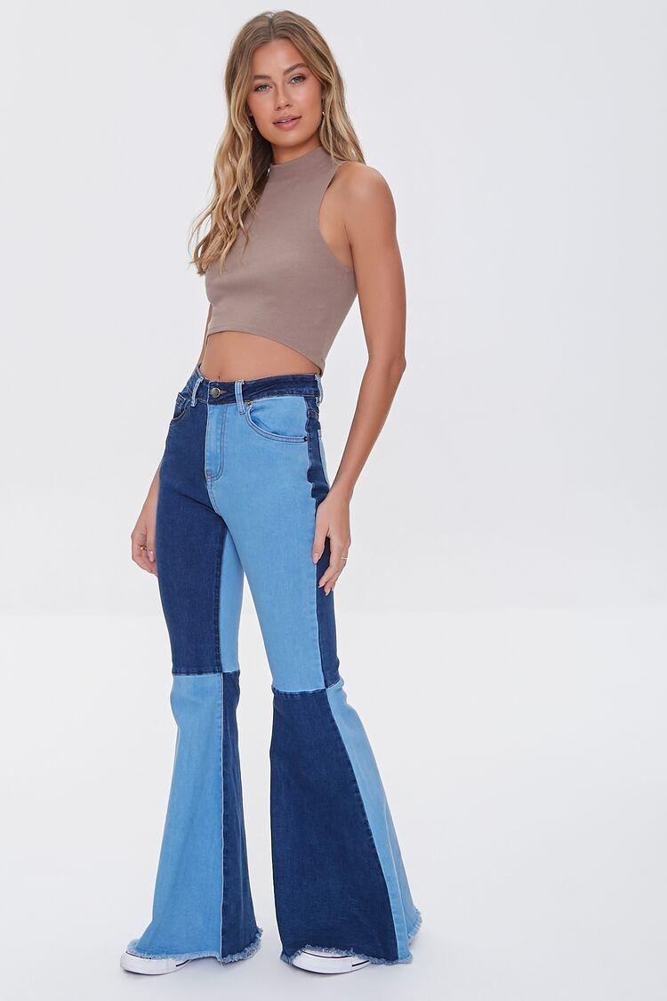 60s Pants, Jeans, Hippie, Flares, Jumpsuits Patchwork Colorblock Flare Jeans in Light DenimDark Denim Large $39.99 AT vintagedancer.com