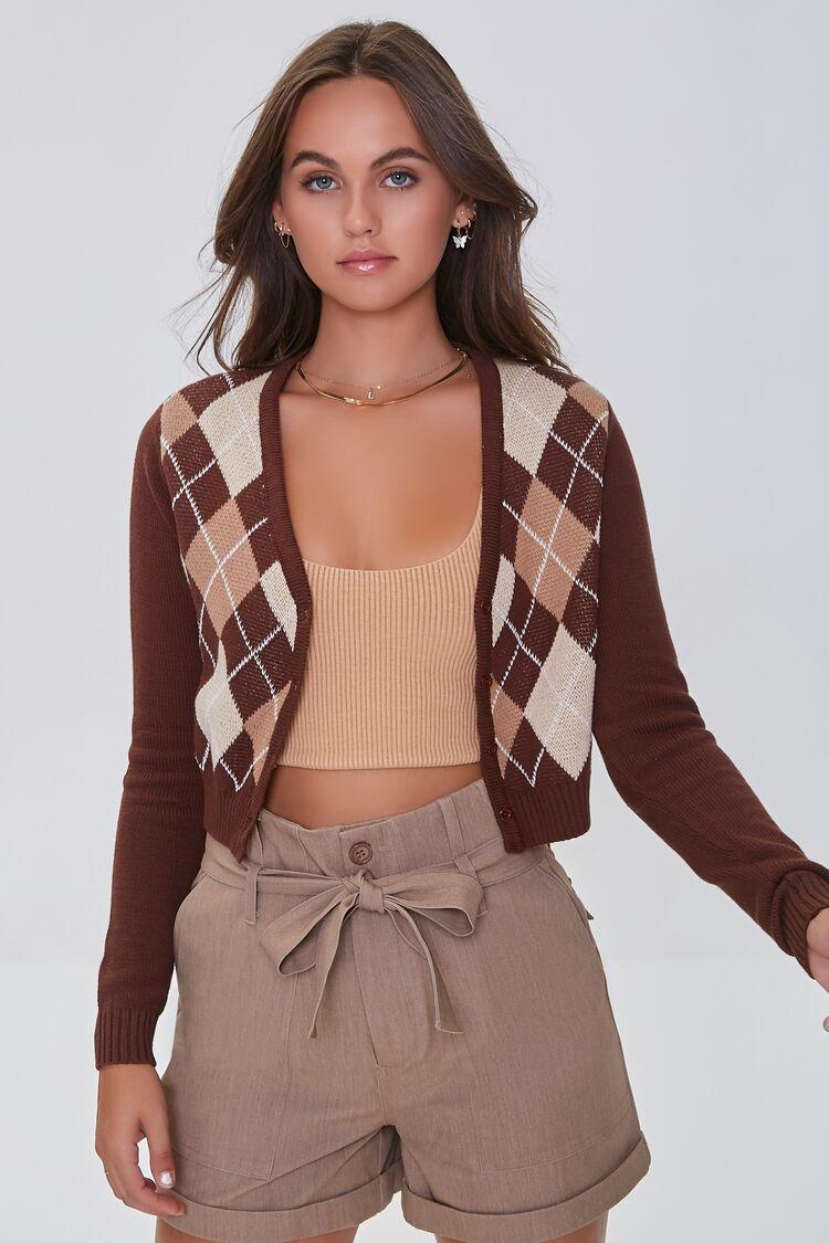 Vintage Sweaters, Retro Sweaters & Cardigan Argyle Cardigan Sweater in Brown Large $27.99 AT vintagedancer.com