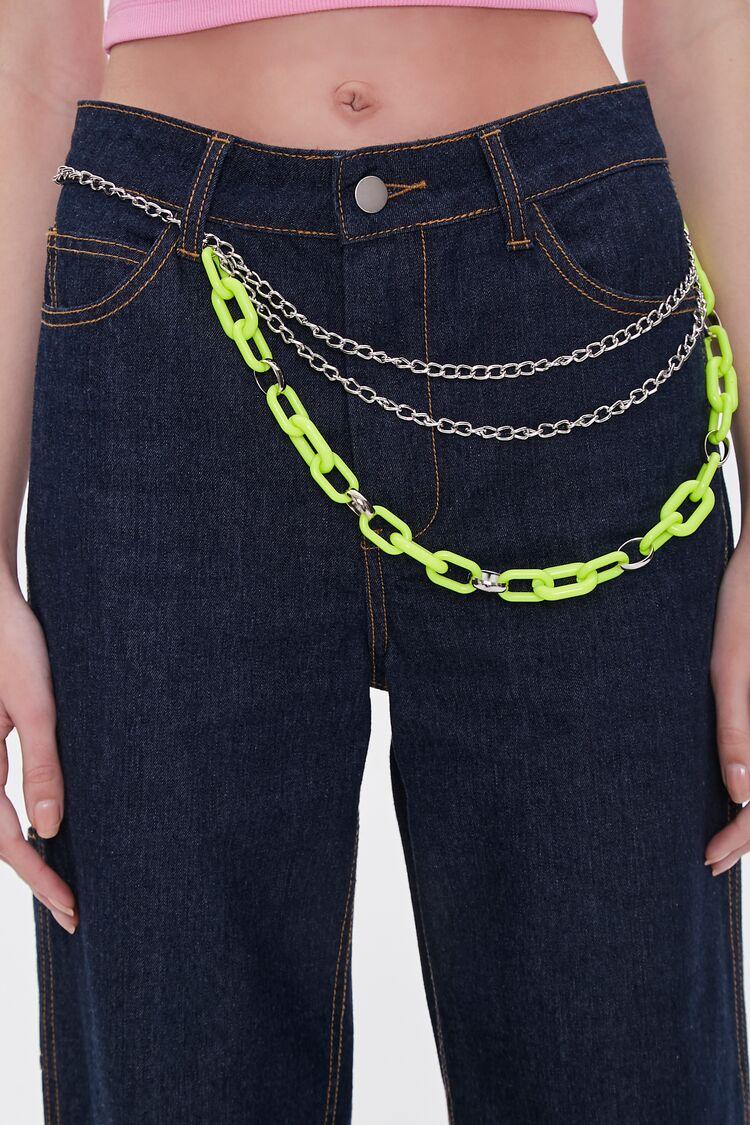 Vintage Wide Belts, Cinch Belts, Skinny 50s Belts Layered Chain Hip Belt in SilverLime $3.00 AT vintagedancer.com