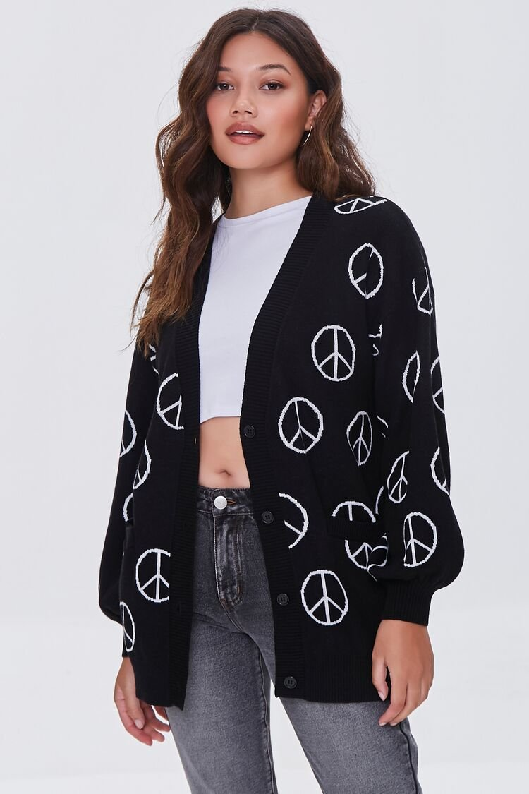 Vintage Sweaters & Cardigans: 1940s, 1950s, 1960s Peace Sign Cardigan Sweater in BlackWhite Large $29.99 AT vintagedancer.com