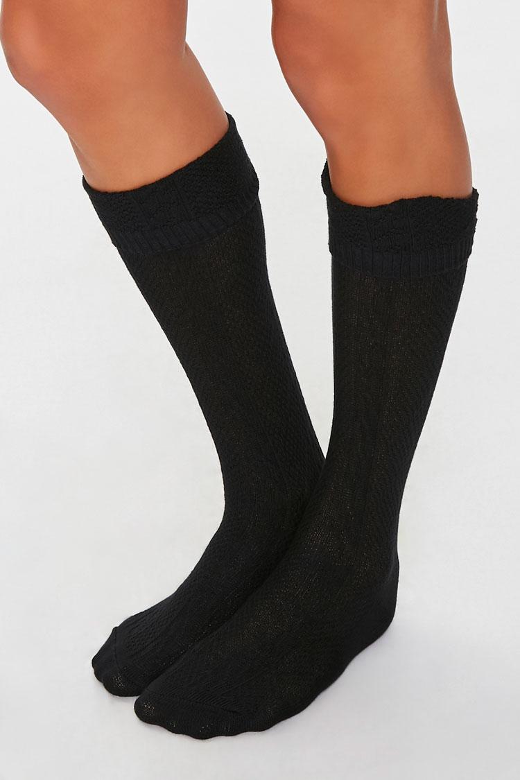 Vintage Socks | 1920s, 1930s, 1940s, 1950s, 1960s History Cable Knit Knee-High Socks in Black $3.00 AT vintagedancer.com