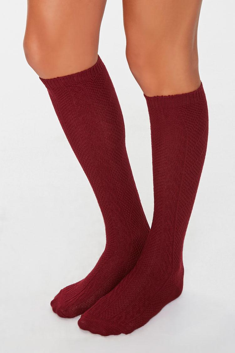 Vintage Socks | 1920s, 1930s, 1940s, 1950s, 1960s History Cable Knit Knee-High Socks in Burgundy $3.00 AT vintagedancer.com