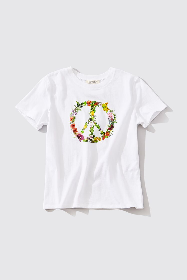60s Shirts, T-shirts, Blouses, Hippie Shirts Organic Cotton Floral Peace Sign Graphic Tee in White Large $9.99 AT vintagedancer.com