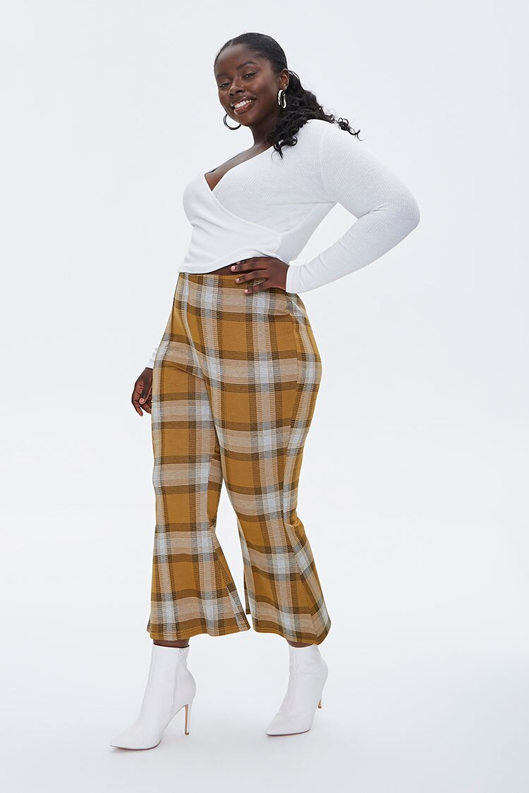 70s Clothes | Hippie Clothes & Outfits Plaid Flare-Leg Pants in Gold Size 3X $9.00 AT vintagedancer.com