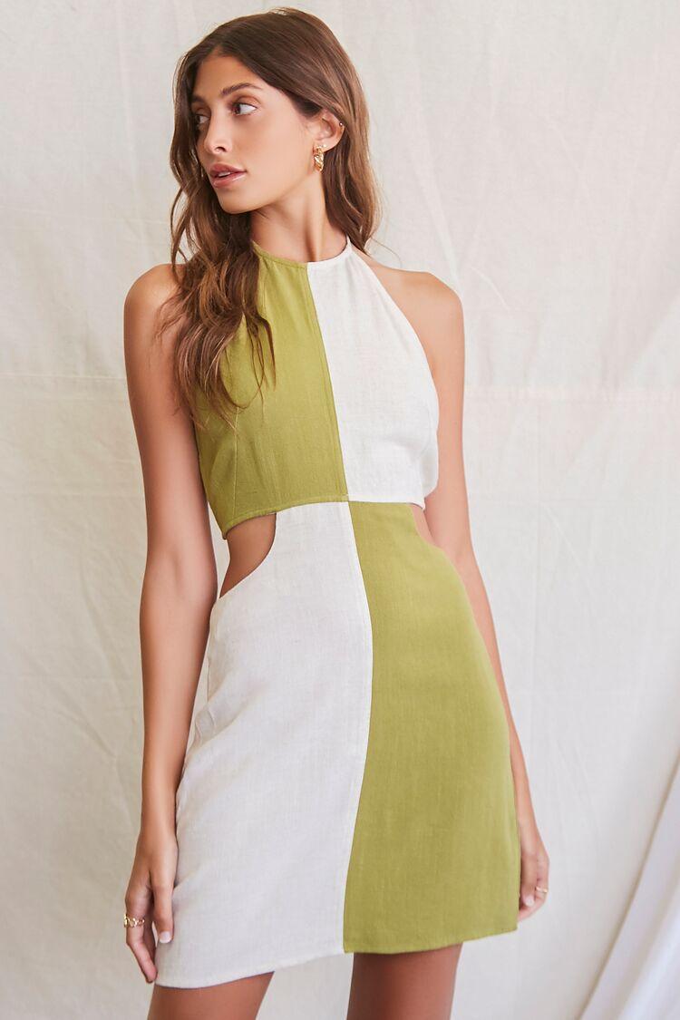 Vintage Style Dresses | Vintage Inspired Dresses Colorblock Halter Mini Dress in OliveNatural Size XL $29.99 AT vintagedancer.com