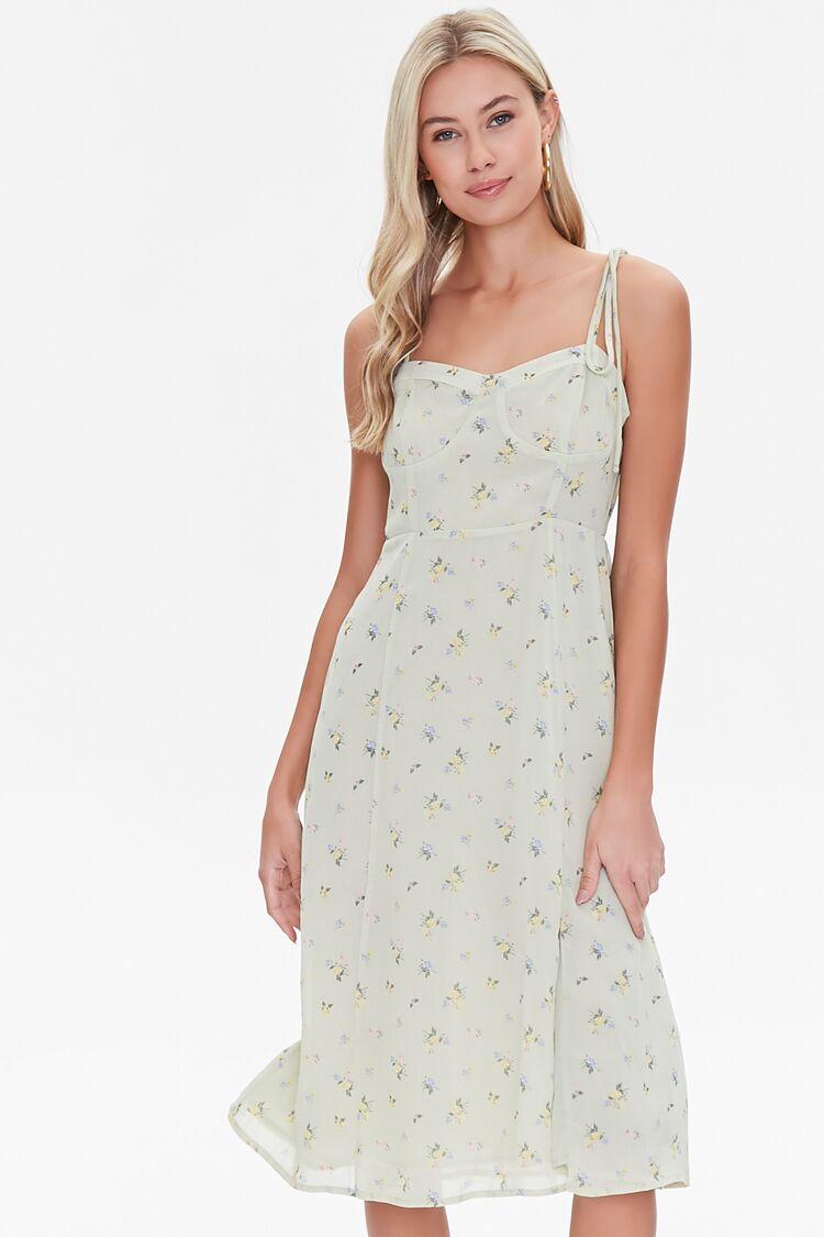Cottagecore Clothing, Soft Aesthetic Gauzy Floral Print Dress in Sage Medium $19.99 AT vintagedancer.com