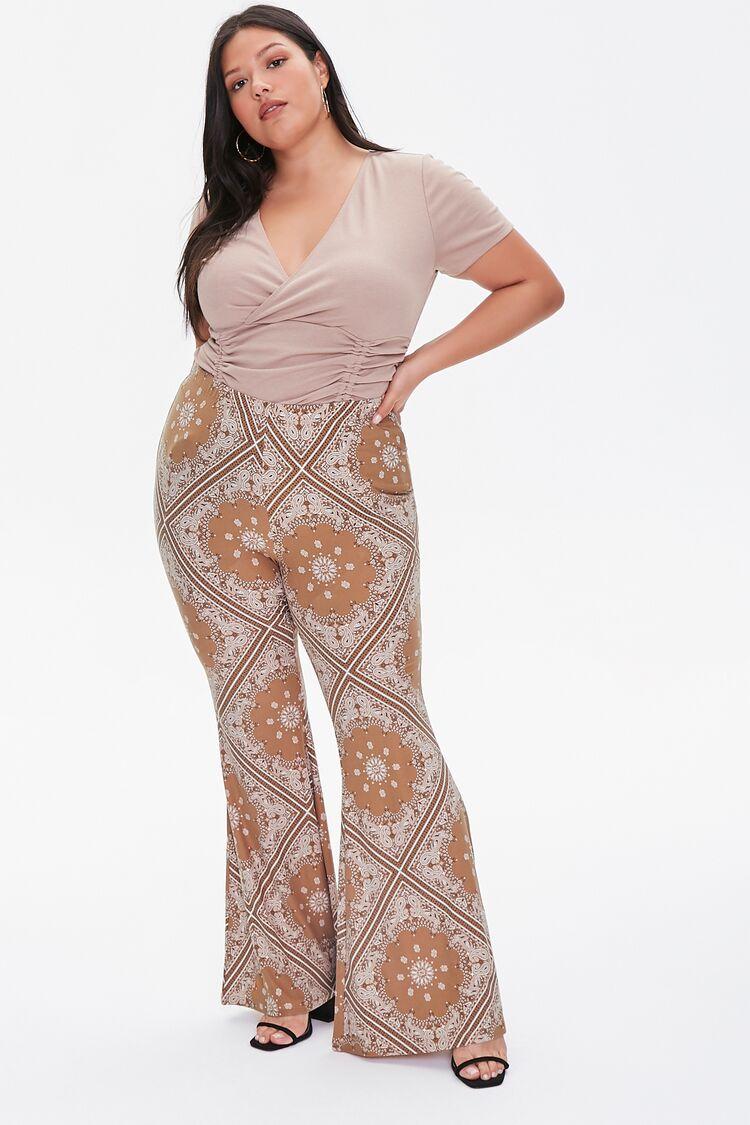 70s Plus Size Costumes | Hippie, Disco Ornate Flare Jordyn Pants in Camel Size 2X $17.99 AT vintagedancer.com