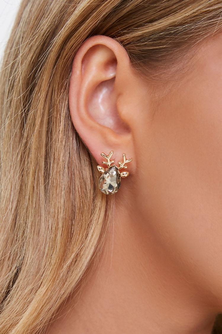 Faux Gem Back Earrings