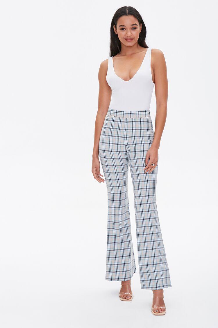 60s Pants, Jeans, Hippie, Flares, Jumpsuits Plaid Flare Pants in Taupe Size XL $19.99 AT vintagedancer.com