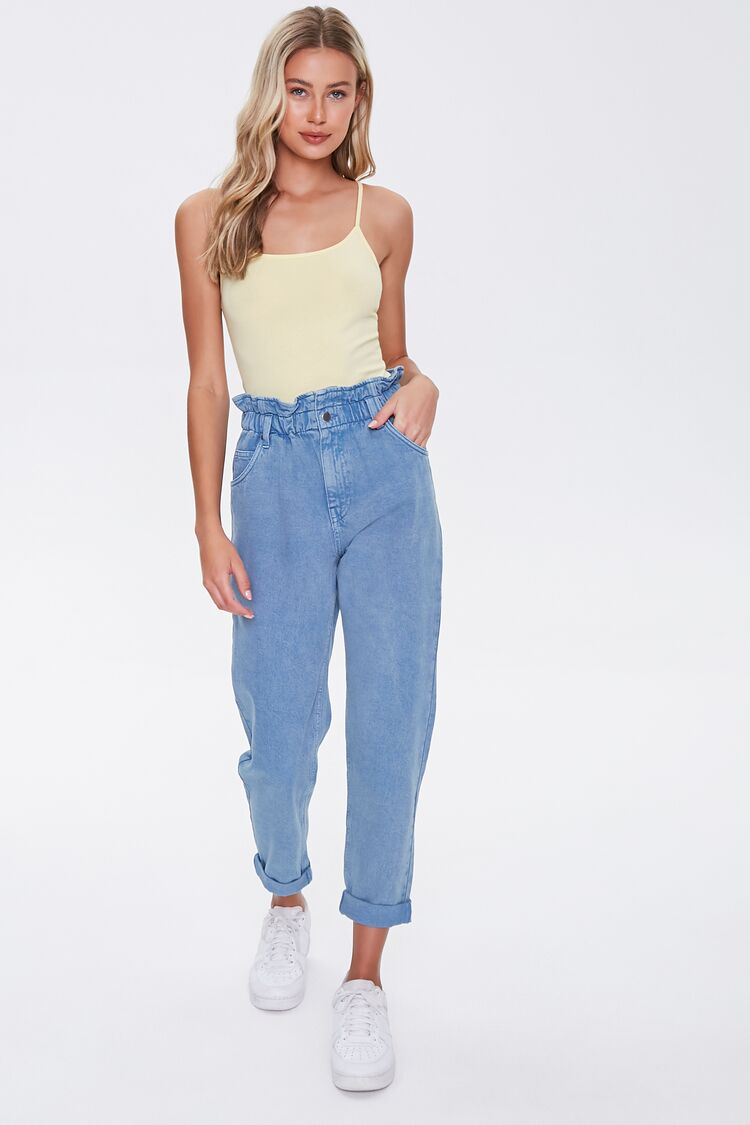 1980s Clothing, Fashion | 80s Style Clothes Cuffed Paperbag Jeans in Blue Medium $24.99 AT vintagedancer.com