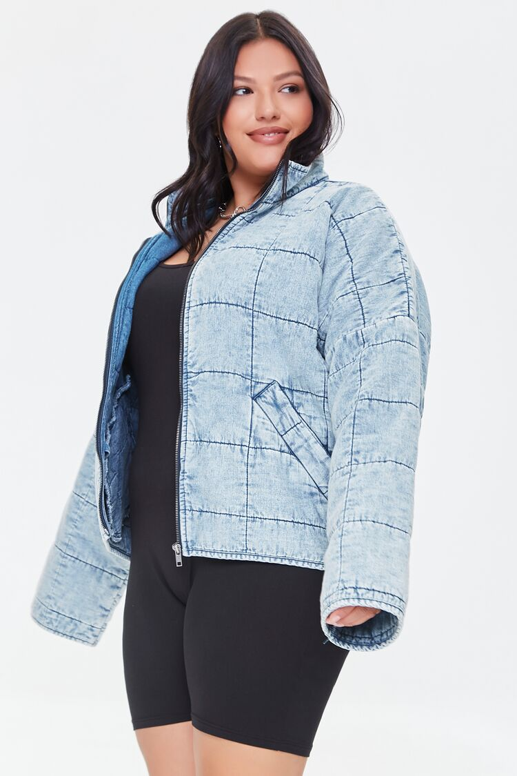 80s Windbreakers, Jackets, Coats | 90s Outerwear Quilted Denim Jacket  Size 1X $64.99 AT vintagedancer.com