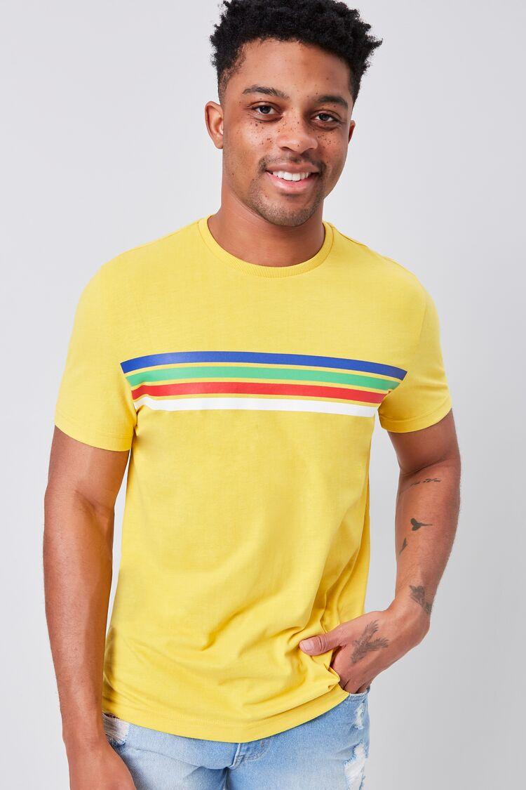 80s Men's Shirts, T-shirts, Retro Shirts Rainbow Striped-Trim Crew Neck Tee in MustardBlue Medium $12.99 AT vintagedancer.com
